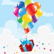 Colorful balloons and a gift box in the sky — Stock Vector