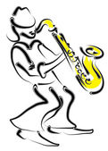 Vector stylized saxophone and musician — Stock Vector