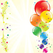 Vector festive balloons and light-burst with space for text — Stock Vector