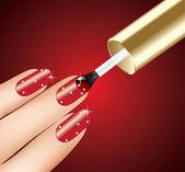 Donna applicando smalto rosso sulle dita — Vettoriale Stock