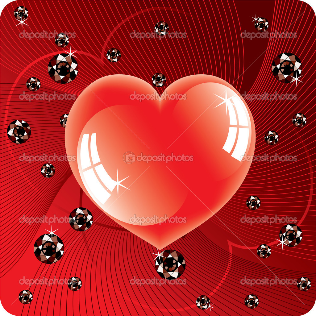 Vector abstract background of shiny beads and red heart — Stock Vector #5893160