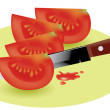 Royalty-Free Stock Vector Image: Tomato slices and kitchen knife