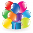 Colorful balloons and a gift box — Stock Vector