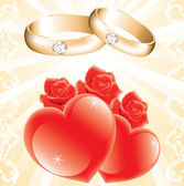 Wedding theme with golden rings, roses and hearts — Stock Vector
