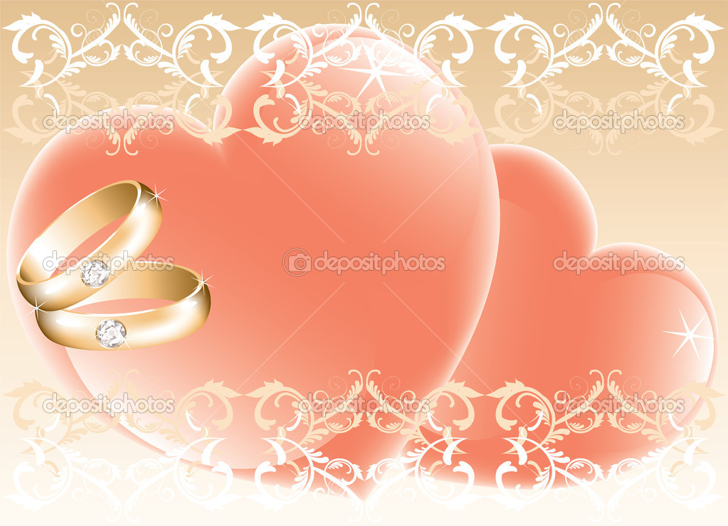 Wedding theme with golden rings and hearts, vector — Stock Vector #6004538