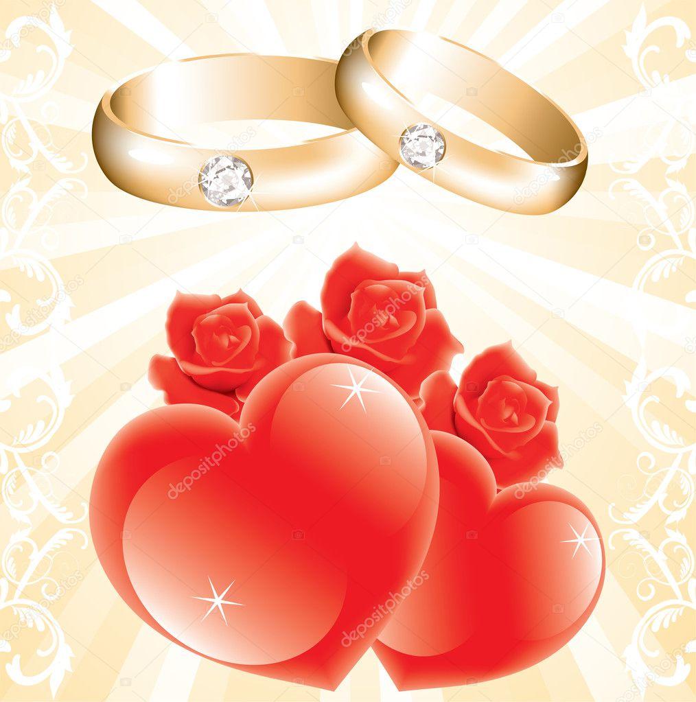 hochzeit thema mit goldenen ringe rosen und herzen. Black Bedroom Furniture Sets. Home Design Ideas