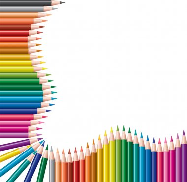 Frame of colored pencils