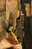 Manija de la puerta de la cabina tramperos — Foto de Stock