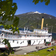 Stock Photo: Beautiful old steam ship in mountain lake