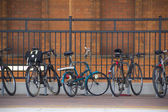 Bicycles at the train station — Stock Photo