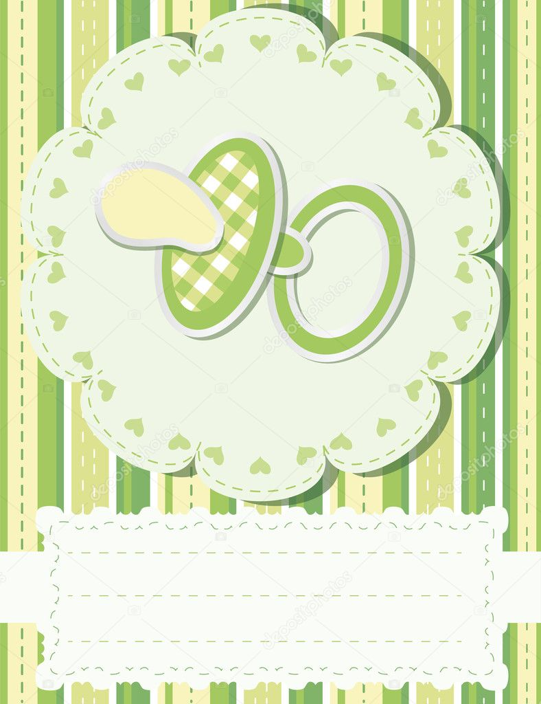 Baby greetings card with green nipple — Stock Vector #5443869