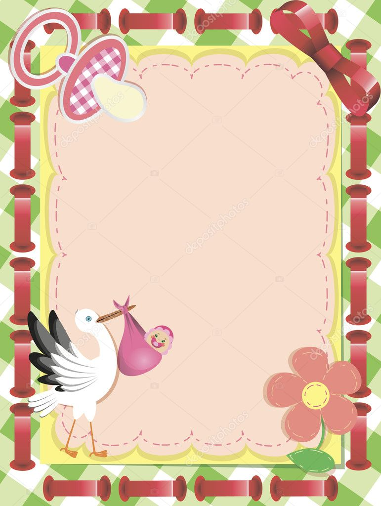 Baby girl arrival announcement card  — Stock Vector #5444033