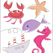 Stock Vector: Sea, marine life set funny illustration