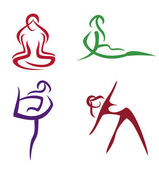 Yoga poses symbols set in simple lines part3 — Stock Vector