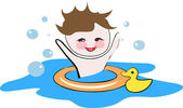 Happy child playing in a water — Stock Vector