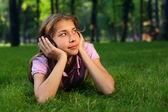 Szczęśliwa dziewczyna z heeadphones — Zdjęcie stockowe