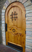 New Knotty Pine Door — Stock Photo