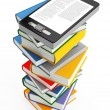 Stock Photo: Mobile phone and books