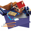 Blueprints and home — Stock Photo