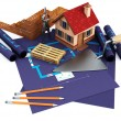 Stock Photo: Blueprints and home