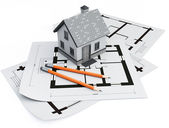 House on architecture blueprints — Stock Photo