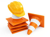 Traffic cones and hardhat — Stock Photo