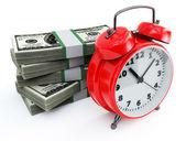 Clock and money stacks — Stock Photo