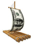 Wooden raft with dollar — Stock Photo