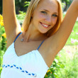 Young beautiful blond female with long hair — Foto de Stock