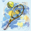 Vector illustration - Tennis racket and ball — Stock Vector #6503980