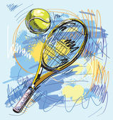 Vector illustration - Tennis racket and ball — Vector de stock
