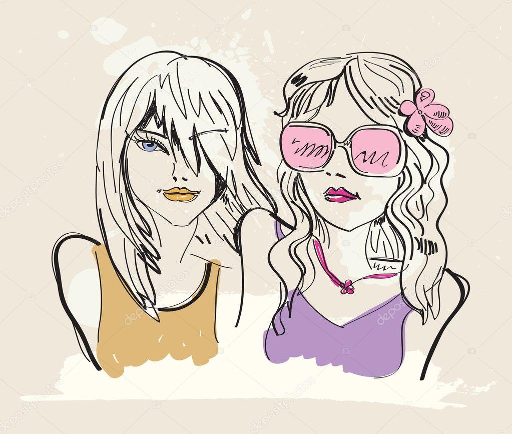 Girl Illustration Drawing Illustration Girl — Vector
