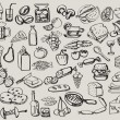 Hand drawn set : kitchen - food — Stockvektor