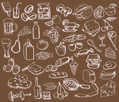 Hand drawn set : kitchen - food — Stock Vector