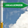 Stock Photo: Challenges cigarette road sign