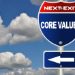 Foto de Stock  : Core values road sign