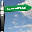 Experience fountain pen road sign - Stock Photo