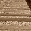Macro railroad track with old color image — ストック写真
