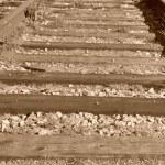 古いカラー イメージにマクロ鉄道トラック — ストック写真