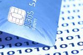 Closeup cartão chip com tons de azul — Foto Stock