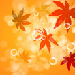 Abstract blur bubble and maple leaf background — Stock Photo