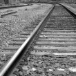 Macro railroad track with black and white image — Stock Photo