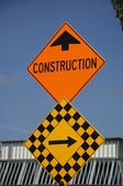 Construction road sign — Stockfoto