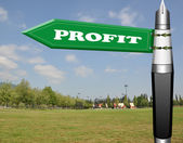 Profit fountain pen road sign — Stock Photo