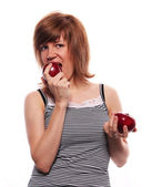 The girl with two apple — Stock Photo