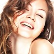 Girl laughs — Stock Photo