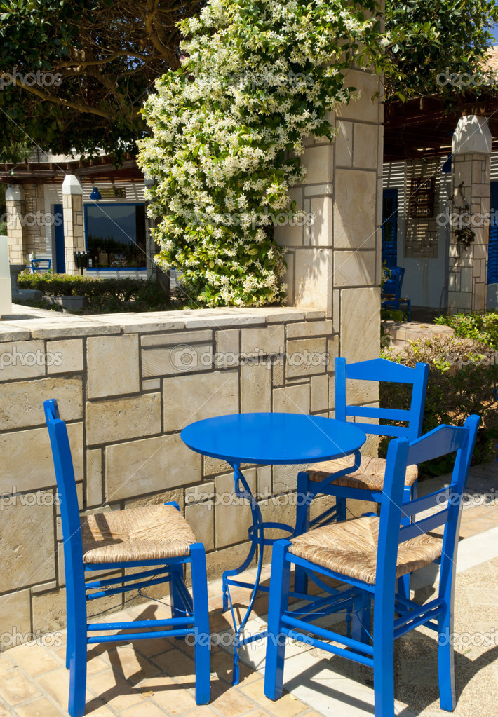 The tavern in traditional greek style interior. Crete. — Stock Photo #5982125