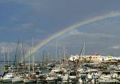 The rainbow over the marina. Iraklion — Stock Photo