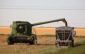 Agricoltore riempiendo un camion di grano in saskatchewan scenico — Foto Stock