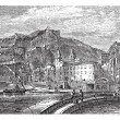 Amalfi in 1890, in the province of Salemo, Italy. Vintage engrav — Stock Vector
